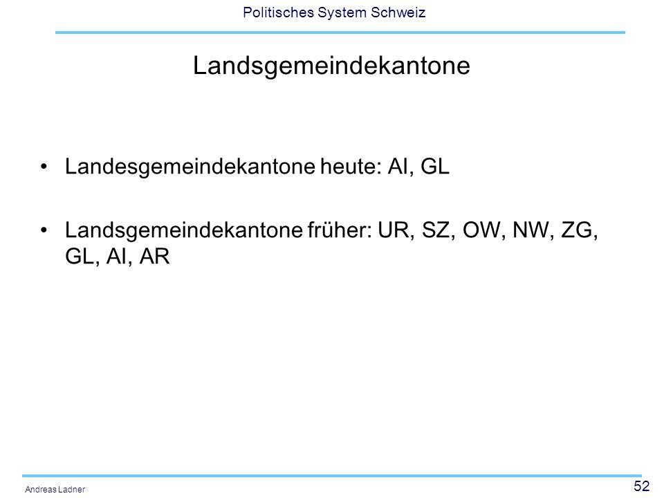 52 Politisches System Schweiz Andreas Ladner Landsgemeindekantone Landesgemeindekantone heute: AI, GL Landsgemeindekantone früher: UR, SZ, OW, NW, ZG,