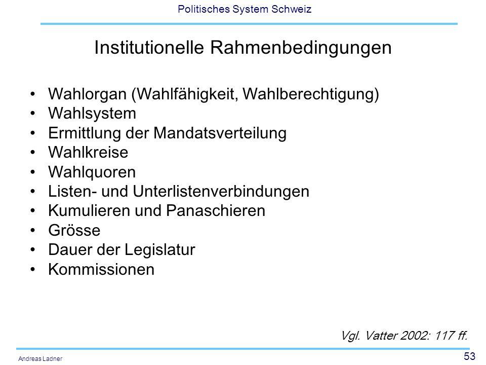 53 Politisches System Schweiz Andreas Ladner Institutionelle Rahmenbedingungen Wahlorgan (Wahlfähigkeit, Wahlberechtigung) Wahlsystem Ermittlung der M
