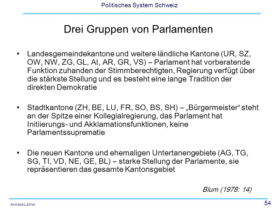 54 Politisches System Schweiz Andreas Ladner Drei Gruppen von Parlamenten Landesgemeindekantone und weitere ländliche Kantone (UR, SZ, OW, NW, ZG, GL,