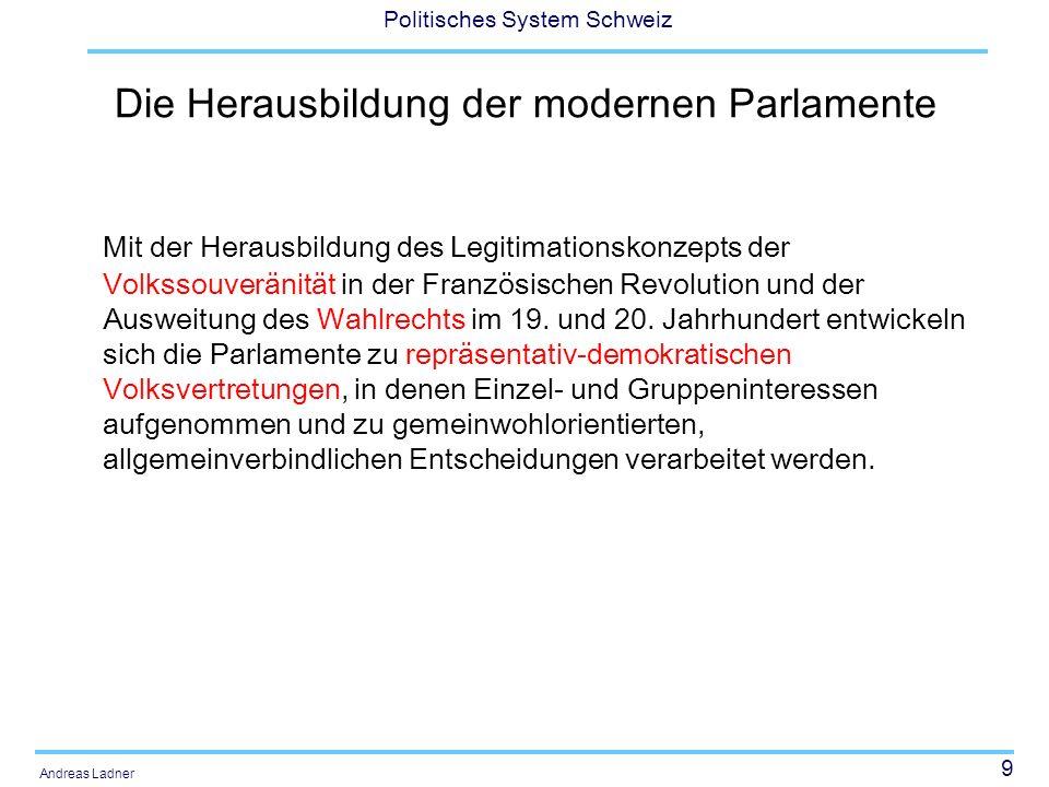 9 Politisches System Schweiz Andreas Ladner Die Herausbildung der modernen Parlamente Mit der Herausbildung des Legitimationskonzepts der Volkssouverä