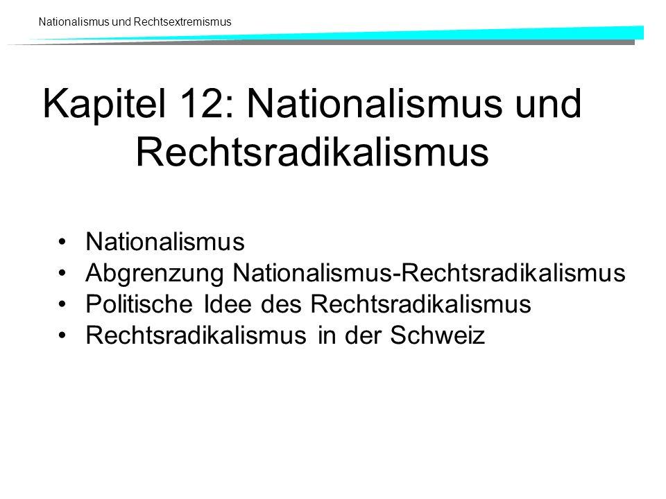 Nationalismus und Rechtsextremismus Kapitel 12: Nationalismus und Rechtsradikalismus Nationalismus Abgrenzung Nationalismus-Rechtsradikalismus Politis