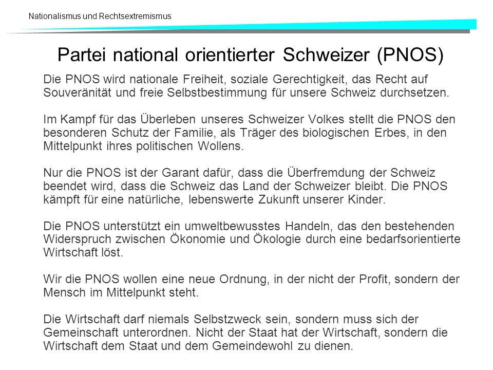 Nationalismus und Rechtsextremismus Partei national orientierter Schweizer (PNOS) Die PNOS wird nationale Freiheit, soziale Gerechtigkeit, das Recht a