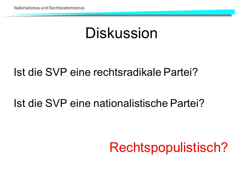 Nationalismus und Rechtsextremismus Diskussion Ist die SVP eine rechtsradikale Partei? Ist die SVP eine nationalistische Partei? Rechtspopulistisch?