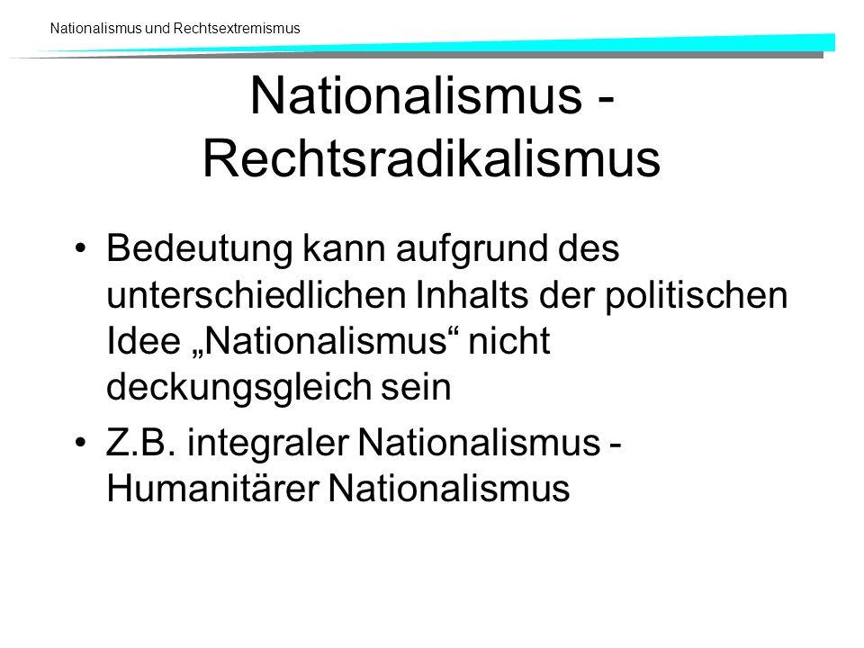 Nationalismus und Rechtsextremismus Nationalismus - Rechtsradikalismus Bedeutung kann aufgrund des unterschiedlichen Inhalts der politischen Idee Nati