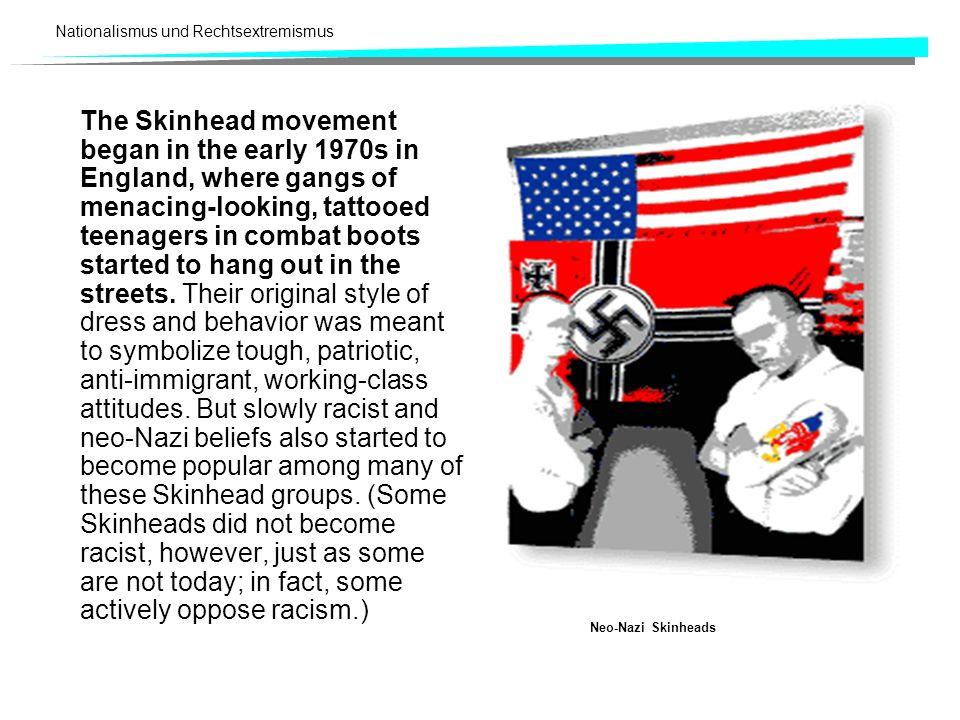 Nationalismus und Rechtsextremismus Rechtsradikalismus Altermatt/Skenderovic (1995: 16) nennen eine Reihe von Merkmalen, die oft nur teilweise oder in unterschiedlicher Kombination und Ausprägung für den Rechtsradikalismus kennzeichnend sind: