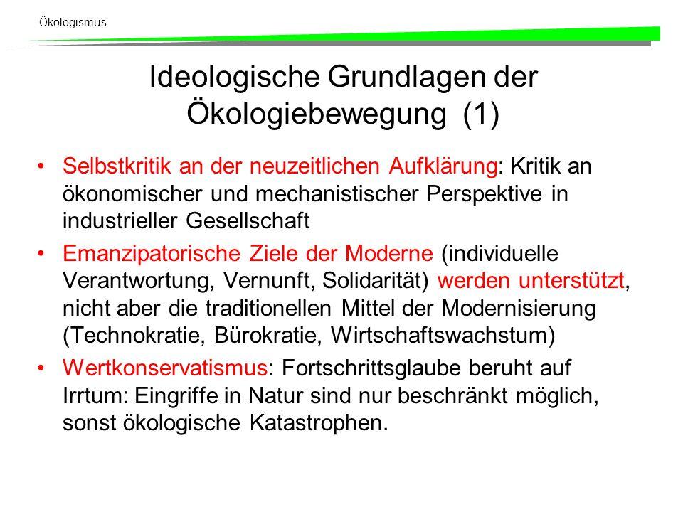 Ökologismus Ideologische Grundlagen der Ökologiebewegung (1) Selbstkritik an der neuzeitlichen Aufklärung: Kritik an ökonomischer und mechanistischer