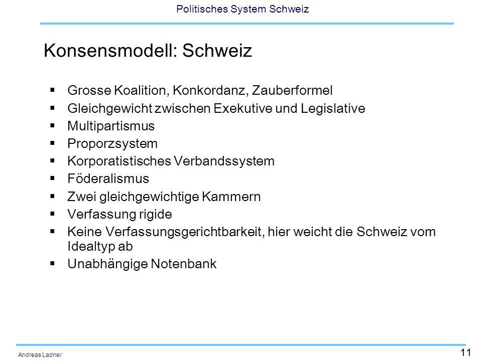 11 Politisches System Schweiz Andreas Ladner Konsensmodell: Schweiz Grosse Koalition, Konkordanz, Zauberformel Gleichgewicht zwischen Exekutive und Le