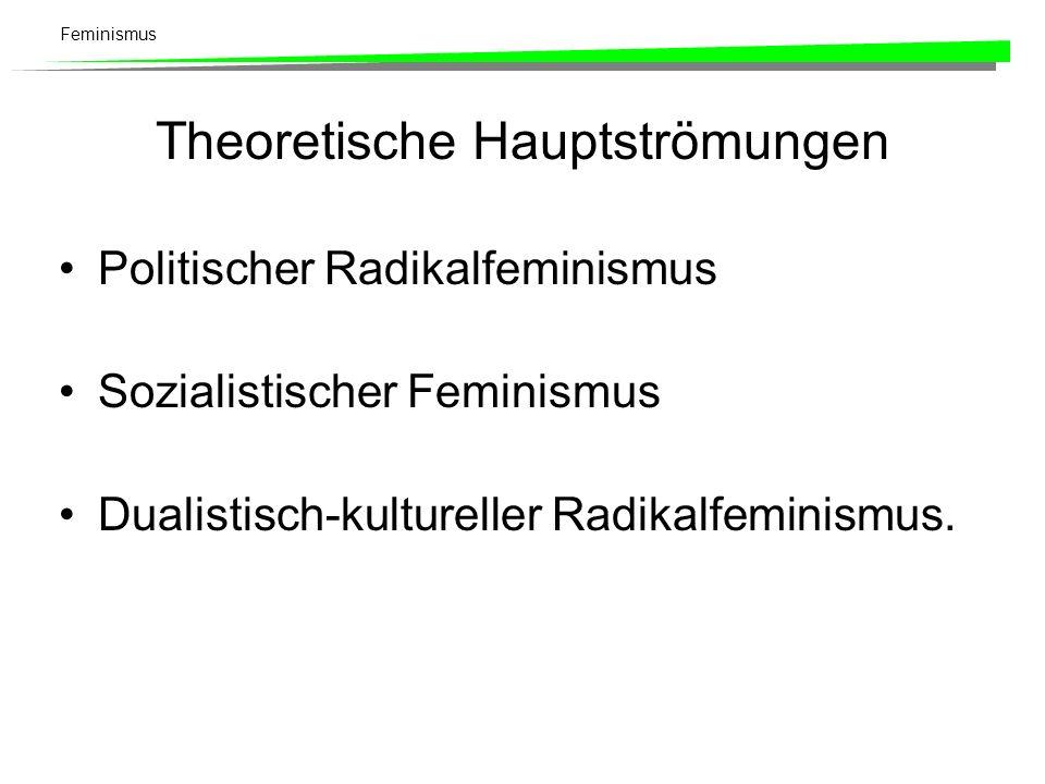 Feminismus Theoretische Hauptströmungen Politischer Radikalfeminismus Sozialistischer Feminismus Dualistisch-kultureller Radikalfeminismus.