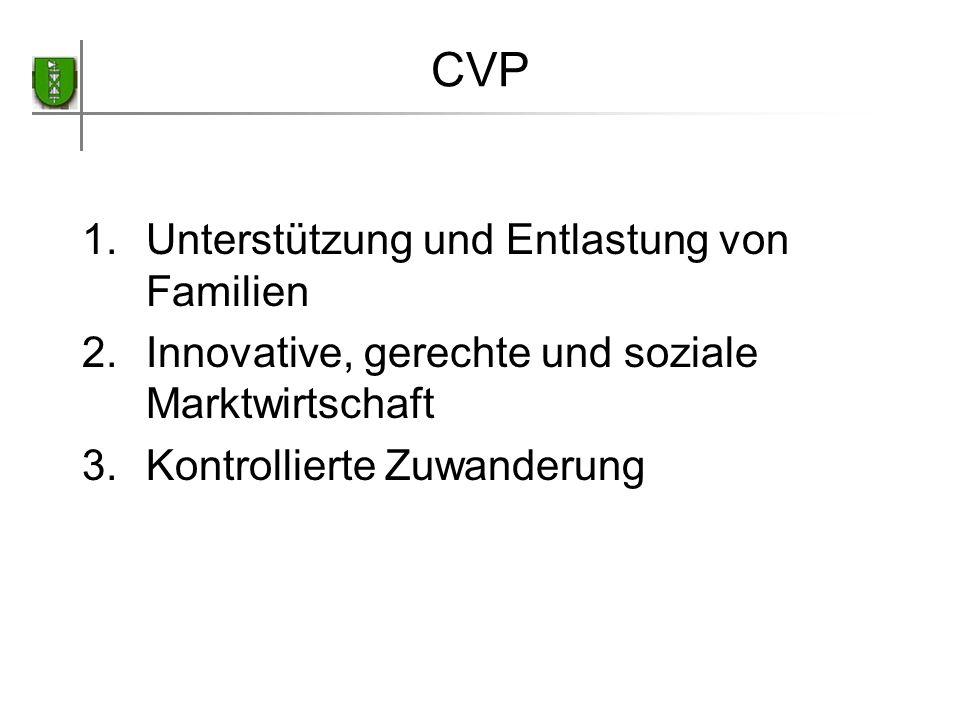 CVP 1.Unterstützung und Entlastung von Familien 2.Innovative, gerechte und soziale Marktwirtschaft 3.Kontrollierte Zuwanderung