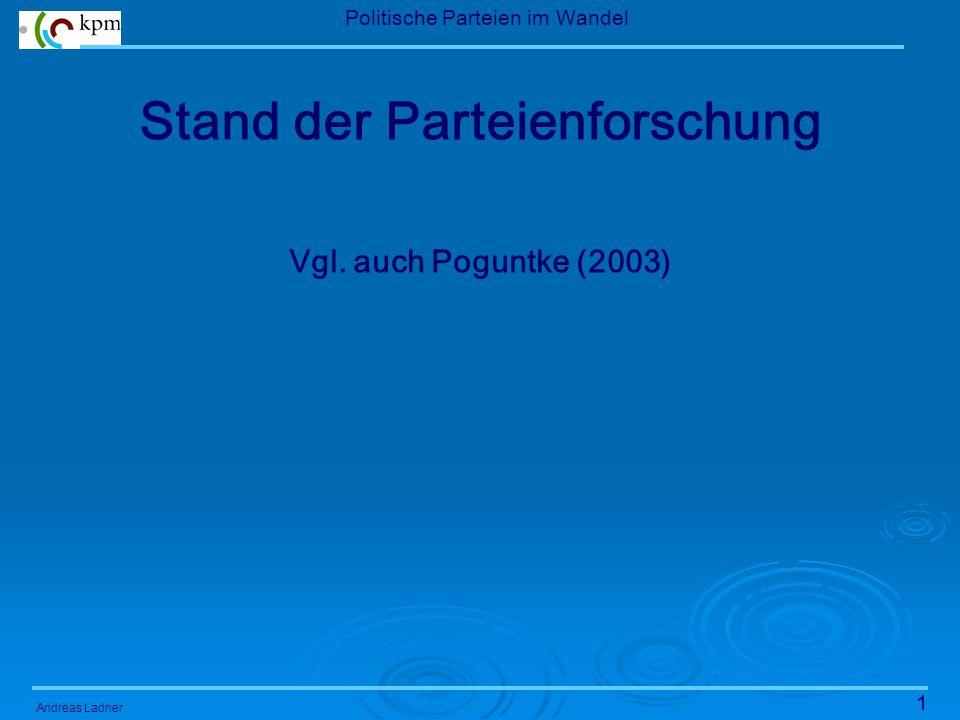 1 Politische Parteien im Wandel Andreas Ladner Stand der Parteienforschung Vgl.
