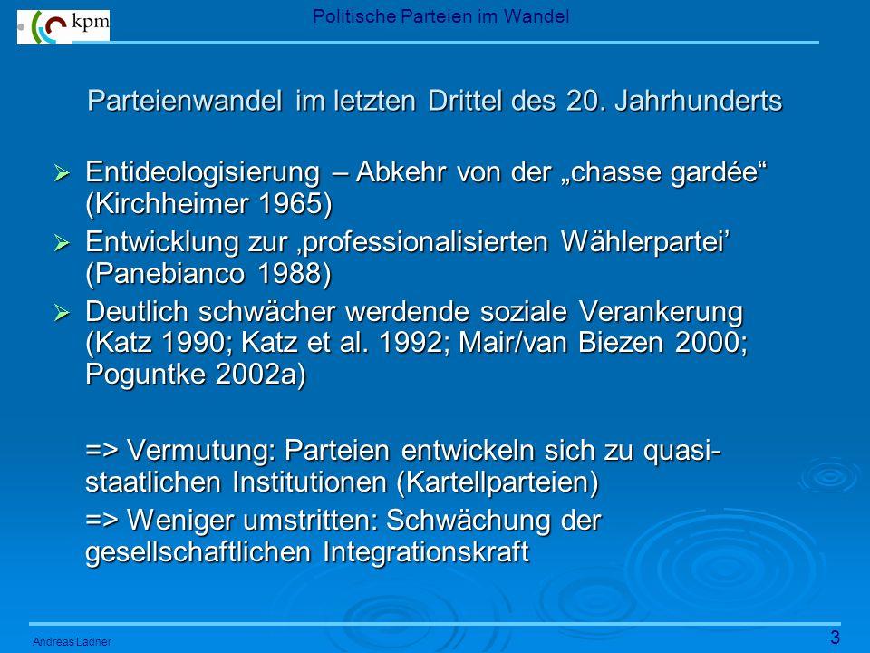 3 Politische Parteien im Wandel Andreas Ladner Parteienwandel im letzten Drittel des 20.