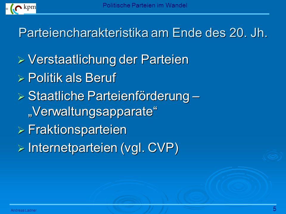 5 Politische Parteien im Wandel Andreas Ladner Parteiencharakteristika am Ende des 20.