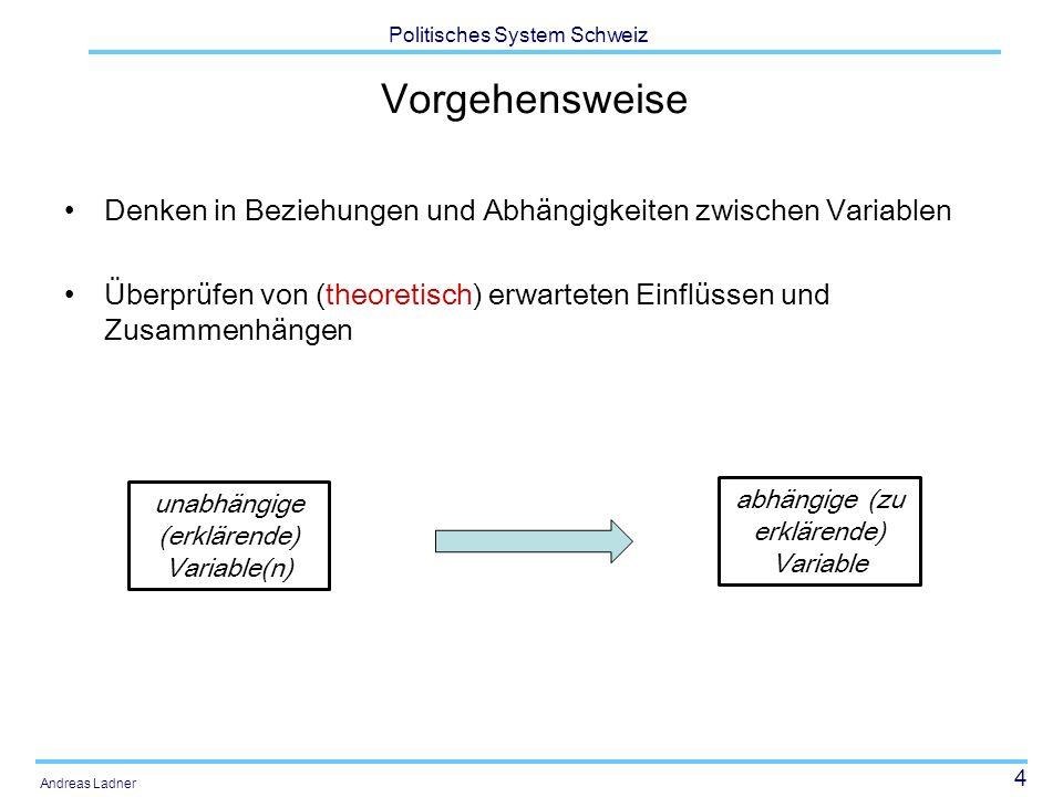 4 Politisches System Schweiz Andreas Ladner Vorgehensweise Denken in Beziehungen und Abhängigkeiten zwischen Variablen Überprüfen von (theoretisch) er