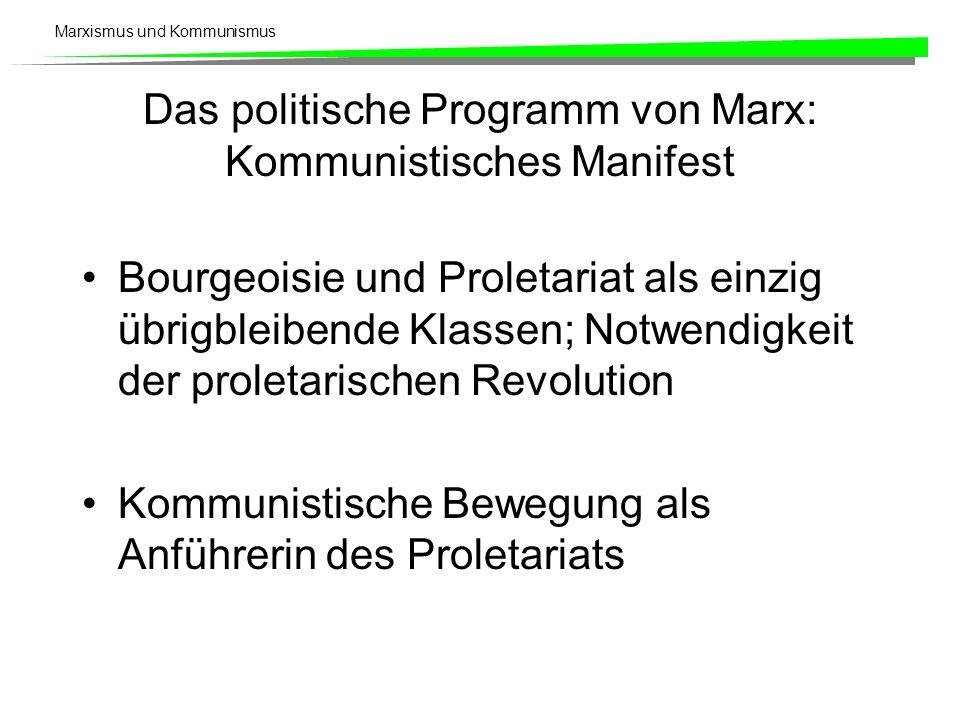 Marxismus und Kommunismus Das politische Programm von Marx: Kommunistisches Manifest Bourgeoisie und Proletariat als einzig übrigbleibende Klassen; No