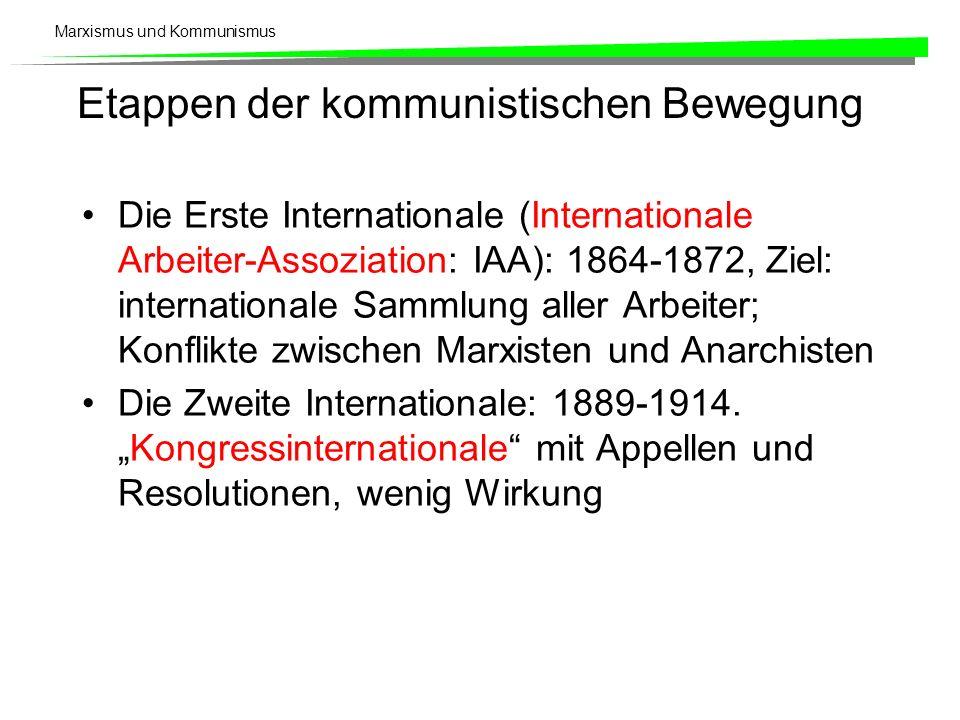Marxismus und Kommunismus Etappen der kommunistischen Bewegung Die Erste Internationale (Internationale Arbeiter-Assoziation: IAA): 1864-1872, Ziel: i