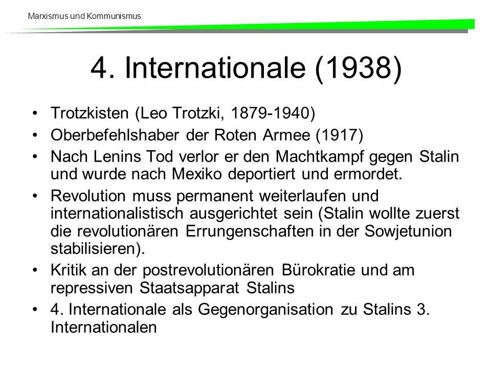 Marxismus und Kommunismus 4. Internationale (1938) Trotzkisten (Leo Trotzki, 1879-1940) Oberbefehlshaber der Roten Armee (1917) Nach Lenins Tod verlor