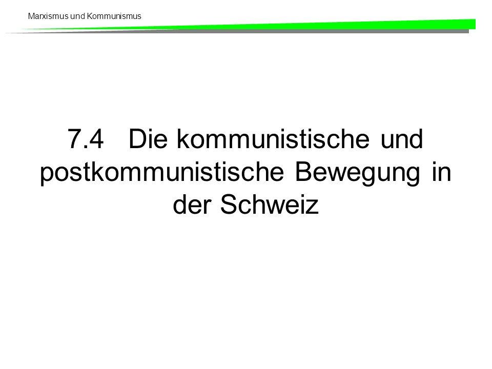 Marxismus und Kommunismus 7.4 Die kommunistische und postkommunistische Bewegung in der Schweiz