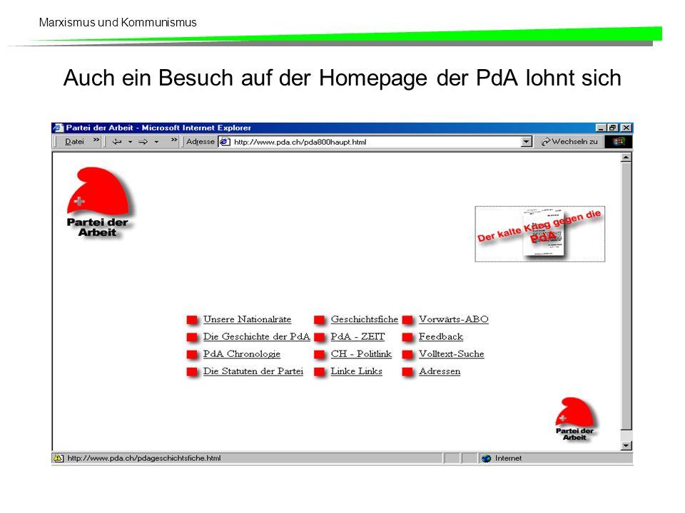 Marxismus und Kommunismus Auch ein Besuch auf der Homepage der PdA lohnt sich