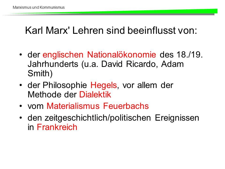 Marxismus und Kommunismus Karl Marx' Lehren sind beeinflusst von: der englischen Nationalökonomie des 18./19. Jahrhunderts (u.a. David Ricardo, Adam S