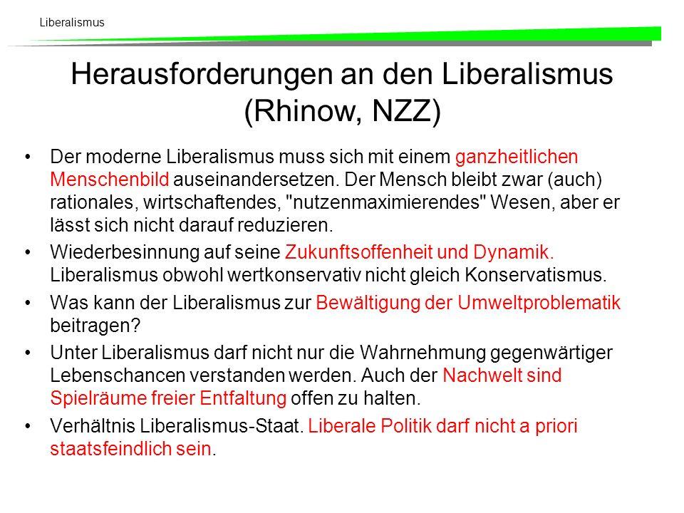 Liberalismus Fünf Kernsätze des Liberalismus (Rhinow, NZZ) Liberalismus ist eine gesellschaftspolitische Konzeption. Hautpanliegen sind Freiheit, Würd