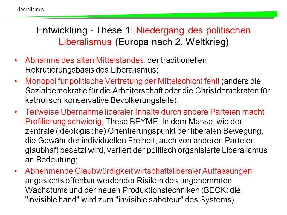 Liberalismus Autoritärer Liberalismus Daneben entwickelt sich, primär auf den Überlegungen von Ludwig von Mises und Friedrich August Hayek basierend,