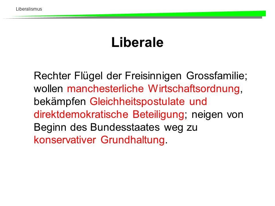 Liberalismus Historische Entwicklung (2) - Bis zum 1. Weltkrieg: Drei ideelle Strömungen, drei Parteiflügel, und dennoch eine
