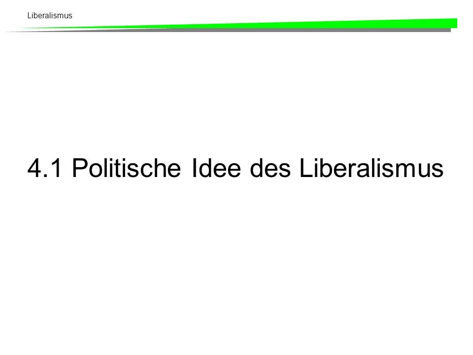 Liberalismus Kapitel 4: Liberalismus 1Politische Idee des Liberalismus 2Träger der liberalen Bewegung 3Liberalismus am Beispiel des Schweizer Freisinn