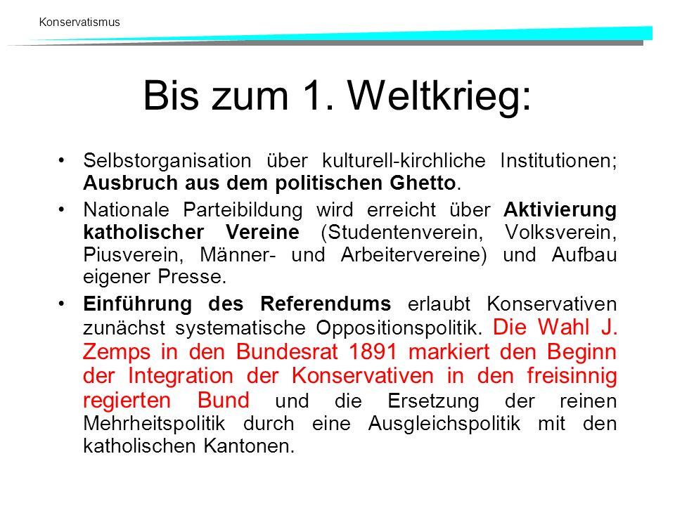 Konservatismus Bis zum 1. Weltkrieg: Selbstorganisation über kulturell-kirchliche Institutionen; Ausbruch aus dem politischen Ghetto. Nationale Partei