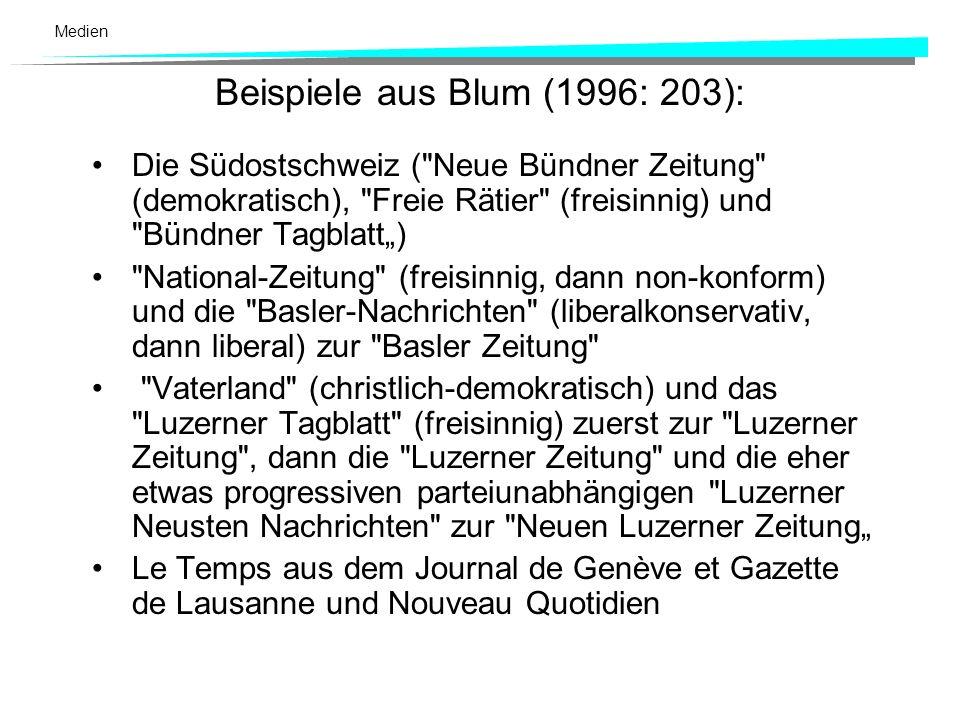 Medien Niedergang der Parteipresse Erst seit 1968 begannen sich die Zeitungen von den Parteien zu emanzipieren. Fusionen: parteigerichtete Blätter wer