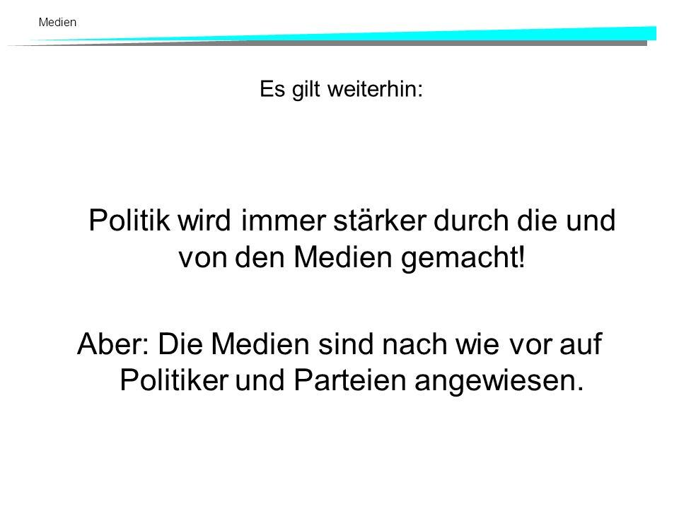 Medien Diskussion - zwei Thesen: Parteien leben in der Schweiz medial wie die Maden im Speck (Management by Arena and Interview). Strategie wird in de