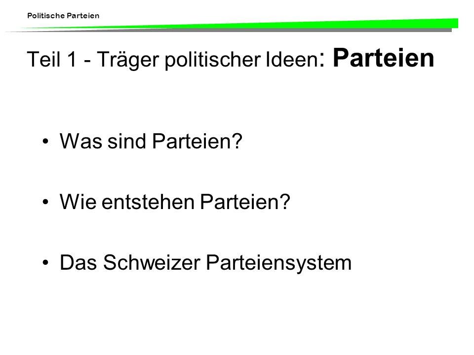 Politische Parteien Teil 1 - Träger politischer Ideen : Parteien Was sind Parteien? Wie entstehen Parteien? Das Schweizer Parteiensystem