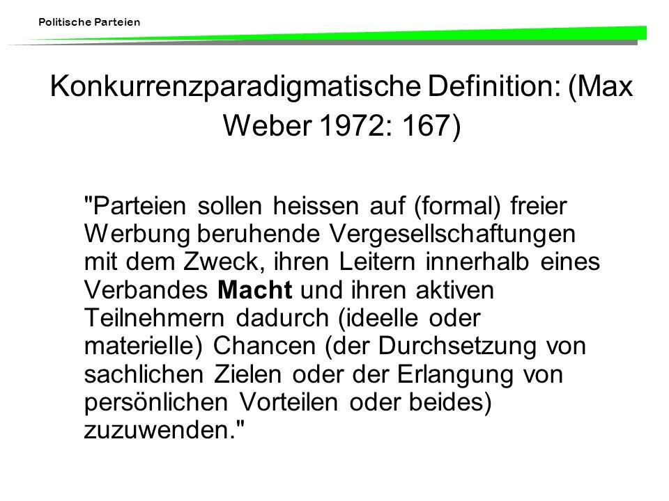 Politische Parteien Konkurrenzparadigmatische Definition: (Max Weber 1972: 167)