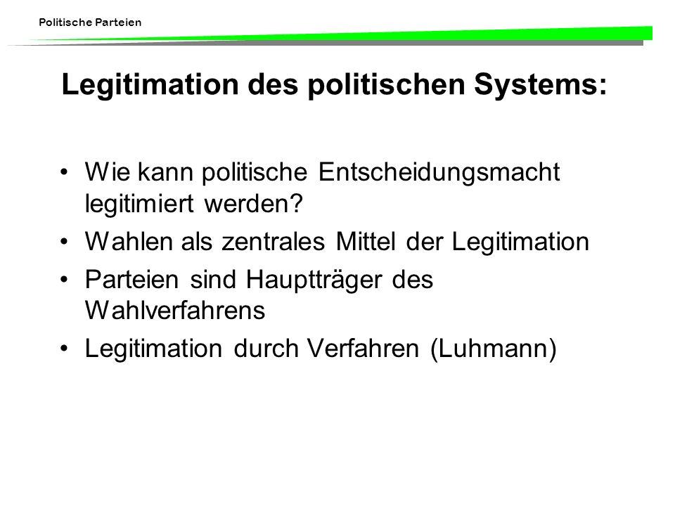 Politische Parteien Legitimation des politischen Systems: Wie kann politische Entscheidungsmacht legitimiert werden? Wahlen als zentrales Mittel der L