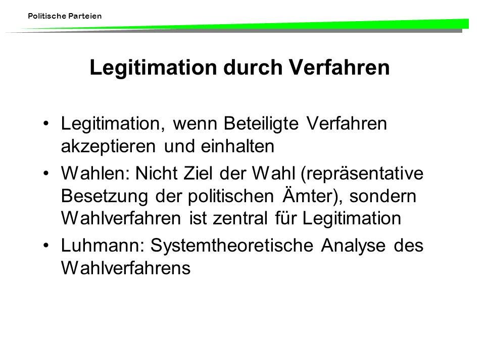 Politische Parteien Legitimation durch Verfahren Legitimation, wenn Beteiligte Verfahren akzeptieren und einhalten Wahlen: Nicht Ziel der Wahl (repräs