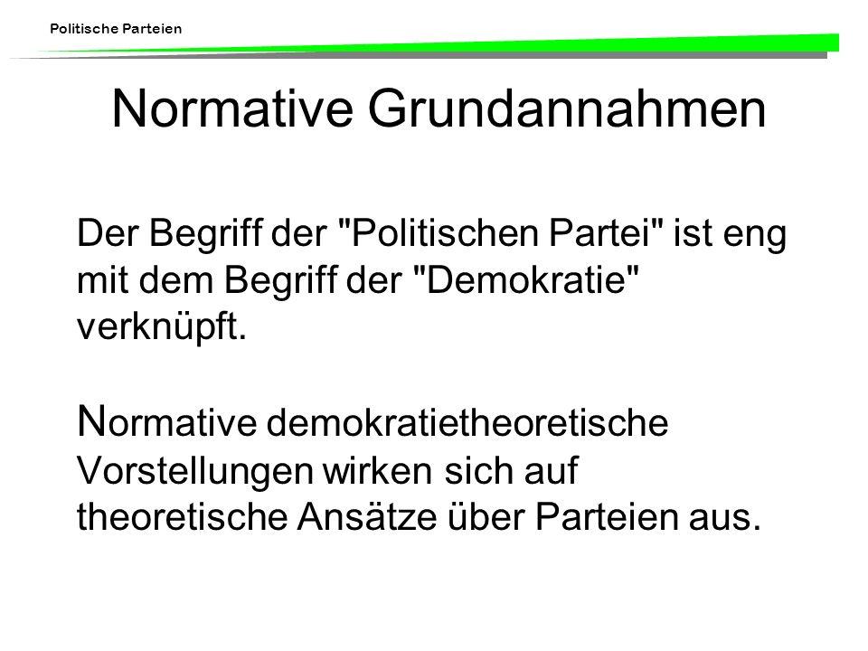 Politische Parteien Institutionelle Ansätze Regierungssystem –z.B.
