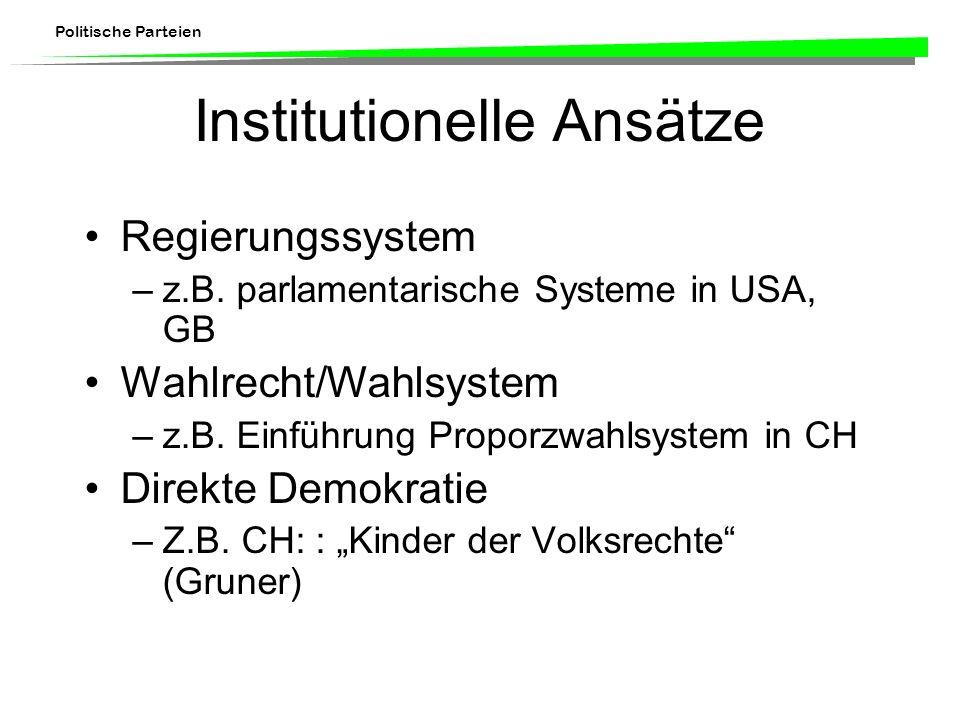 Politische Parteien Institutionelle Ansätze Regierungssystem –z.B. parlamentarische Systeme in USA, GB Wahlrecht/Wahlsystem –z.B. Einführung Proporzwa