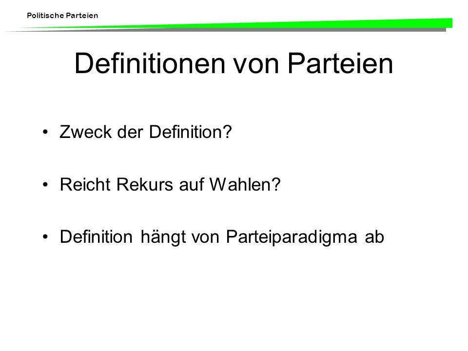 Politische Parteien Definitionen von Parteien Zweck der Definition? Reicht Rekurs auf Wahlen? Definition hängt von Parteiparadigma ab