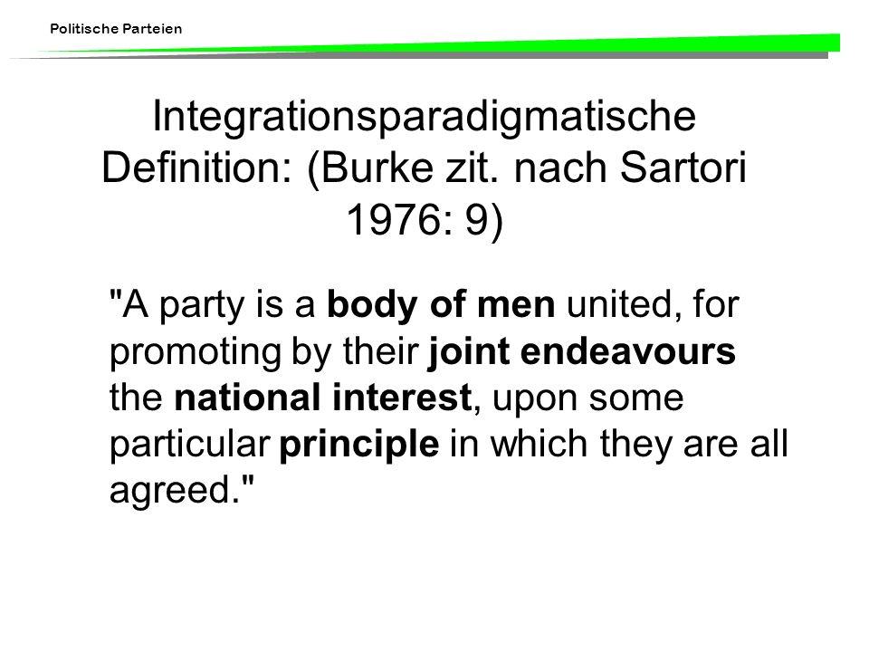 Politische Parteien Integrationsparadigmatische Definition: (Burke zit. nach Sartori 1976: 9)