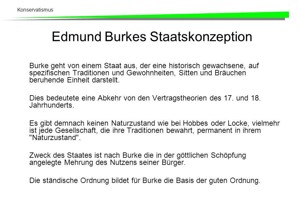 Konservatismus Edmund Burkes Staatskonzeption Burke geht von einem Staat aus, der eine historisch gewachsene, auf spezifischen Traditionen und Gewohnh