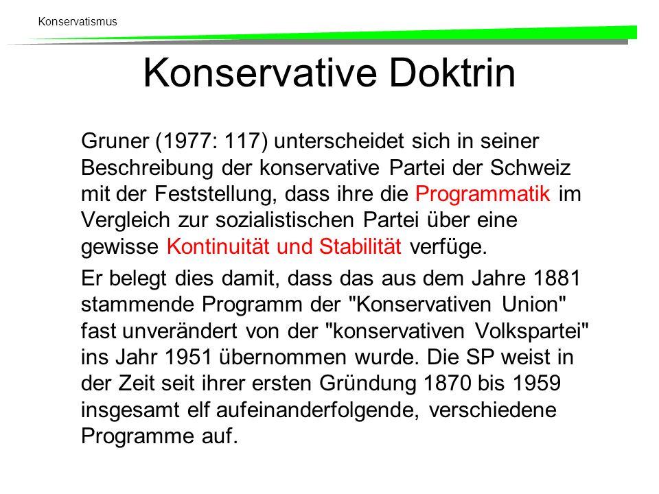 Konservatismus Konservative Doktrin Gruner (1977: 117) unterscheidet sich in seiner Beschreibung der konservative Partei der Schweiz mit der Feststell