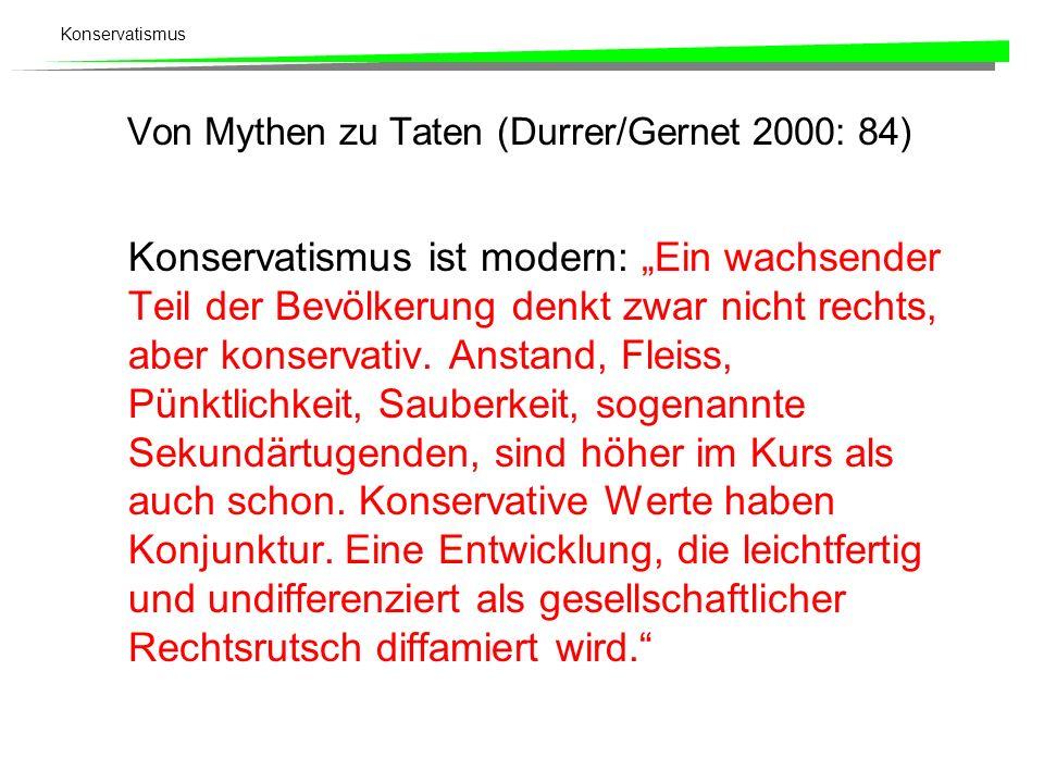 Konservatismus Von Mythen zu Taten (Durrer/Gernet 2000: 84) Konservatismus ist modern: Ein wachsender Teil der Bevölkerung denkt zwar nicht rechts, ab