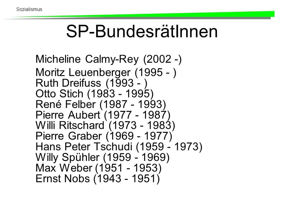 Sozialismus SP-BundesrätInnen Micheline Calmy-Rey (2002 -) Moritz Leuenberger (1995 - ) Ruth Dreifuss (1993 - ) Otto Stich (1983 - 1995) René Felber (