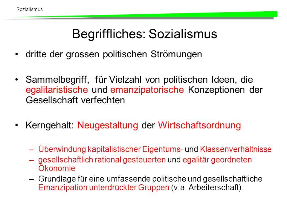 Sozialismus Begriffliches: Sozialismus dritte der grossen politischen Strömungen Sammelbegriff, für Vielzahl von politischen Ideen, die egalitaristisc