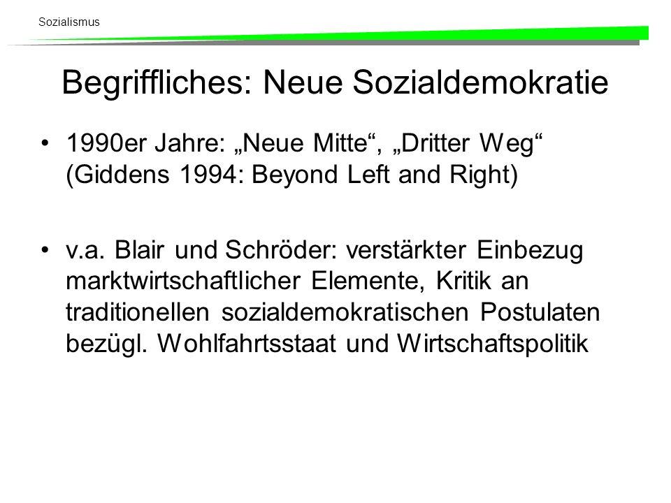 Sozialismus Begriffliches: Neue Sozialdemokratie 1990er Jahre: Neue Mitte, Dritter Weg (Giddens 1994: Beyond Left and Right) v.a. Blair und Schröder: