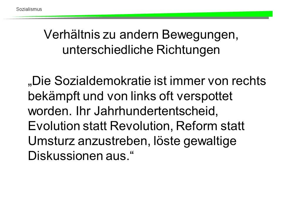 Sozialismus Verhältnis zu andern Bewegungen, unterschiedliche Richtungen Die Sozialdemokratie ist immer von rechts bekämpft und von links oft verspott