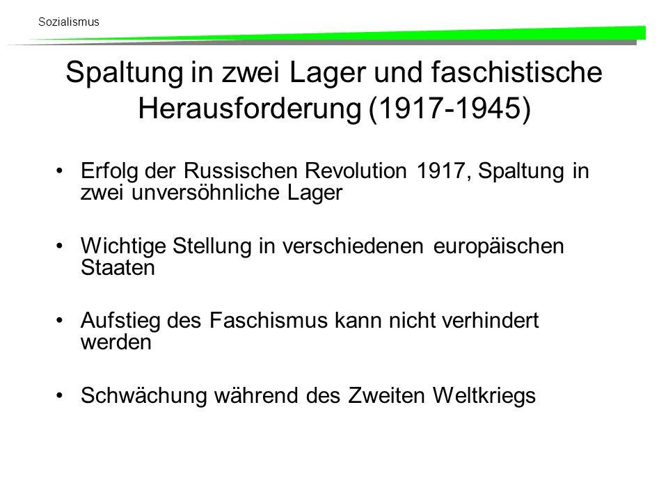 Sozialismus Spaltung in zwei Lager und faschistische Herausforderung (1917-1945) Erfolg der Russischen Revolution 1917, Spaltung in zwei unversöhnlich