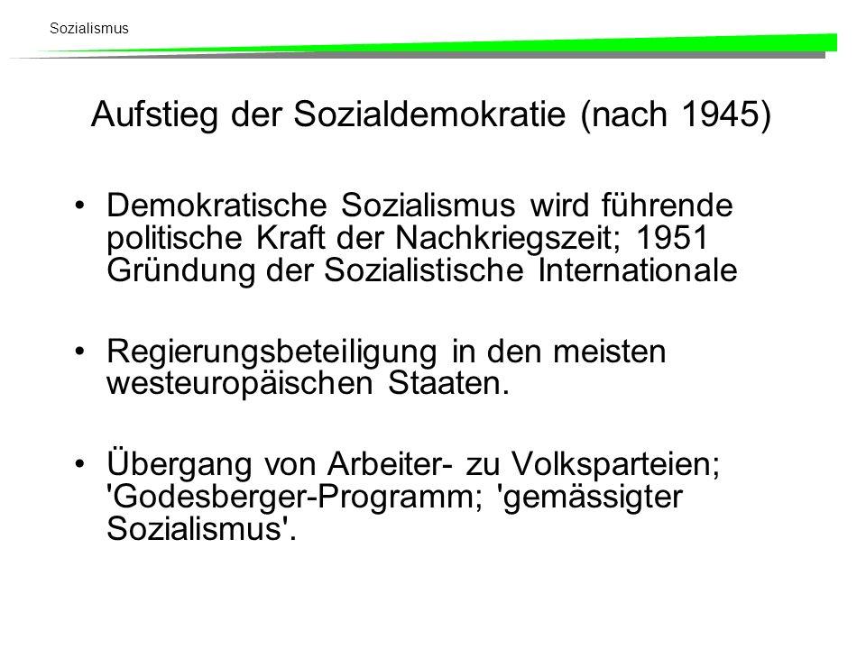 Sozialismus Aufstieg der Sozialdemokratie (nach 1945) Demokratische Sozialismus wird führende politische Kraft der Nachkriegszeit; 1951 Gründung der S