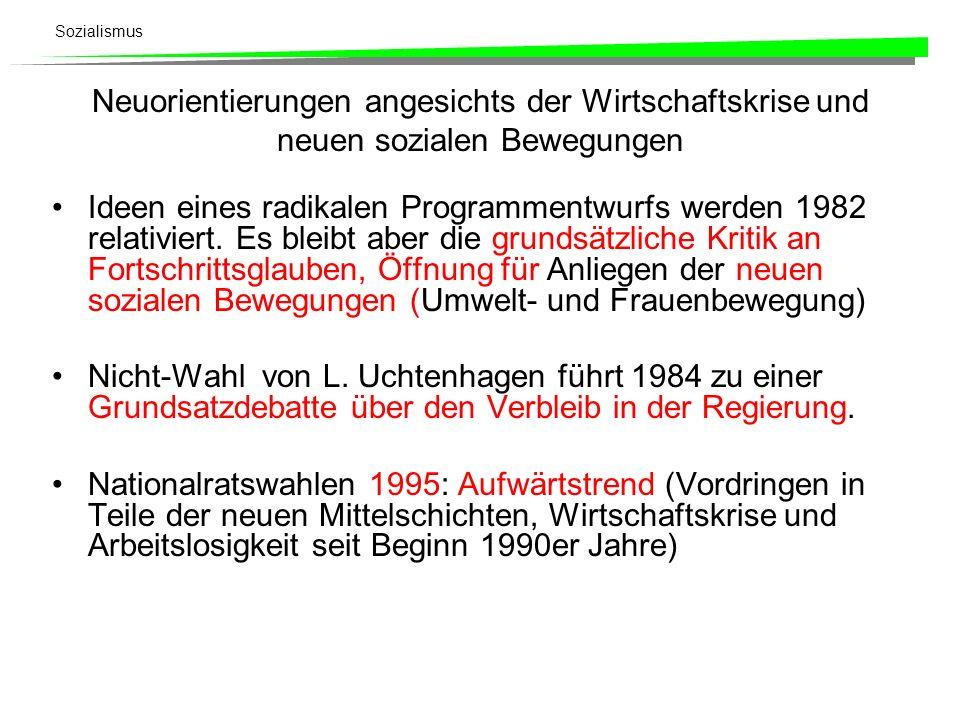 Sozialismus Neuorientierungen angesichts der Wirtschaftskrise und neuen sozialen Bewegungen Ideen eines radikalen Programmentwurfs werden 1982 relativ