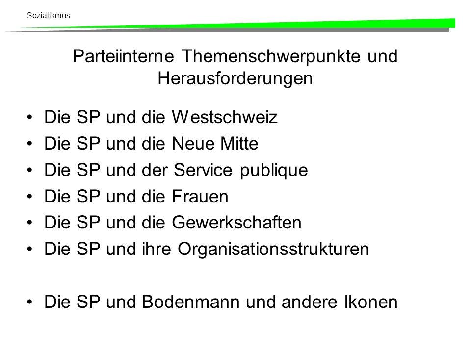Sozialismus Parteiinterne Themenschwerpunkte und Herausforderungen Die SP und die Westschweiz Die SP und die Neue Mitte Die SP und der Service publiqu