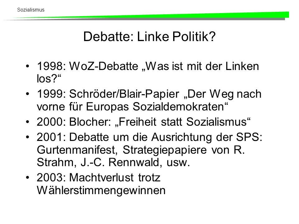 Sozialismus Debatte: Linke Politik? 1998: WoZ-Debatte Was ist mit der Linken los? 1999: Schröder/Blair-Papier Der Weg nach vorne für Europas Sozialdem